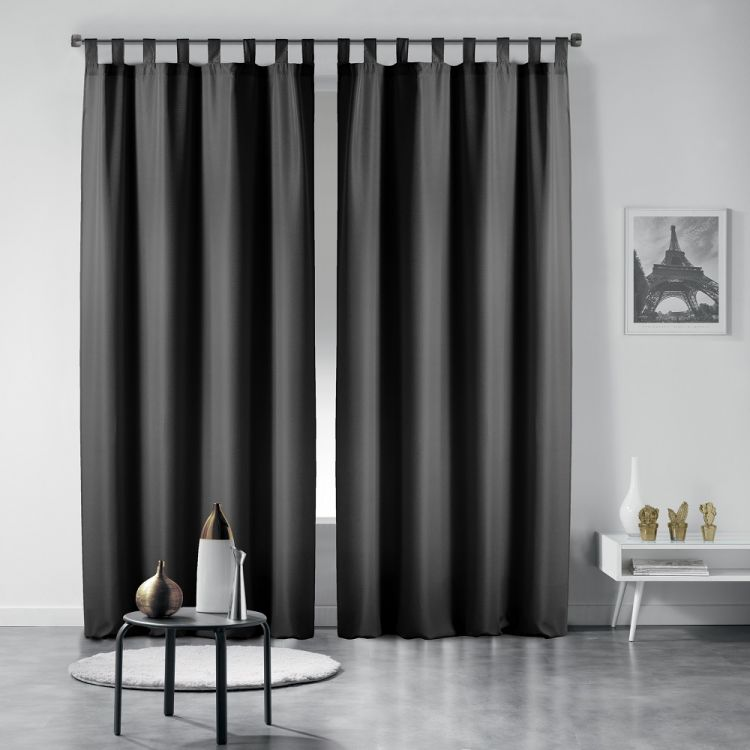 Essentiel Plain Tab Top Curtains Black Tonys Textiles