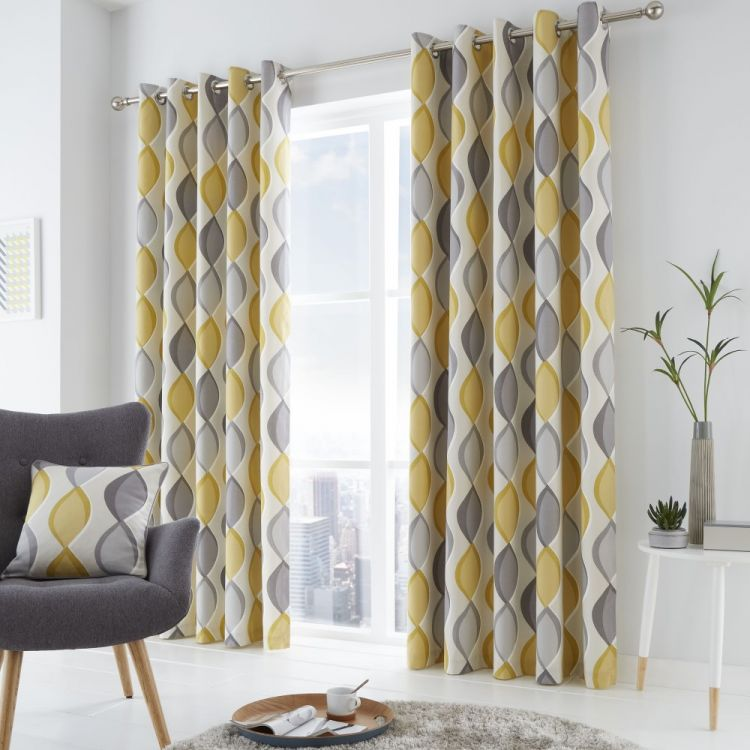 Lennox Ogee Pattern Fully Lined Eyelet Curtains
