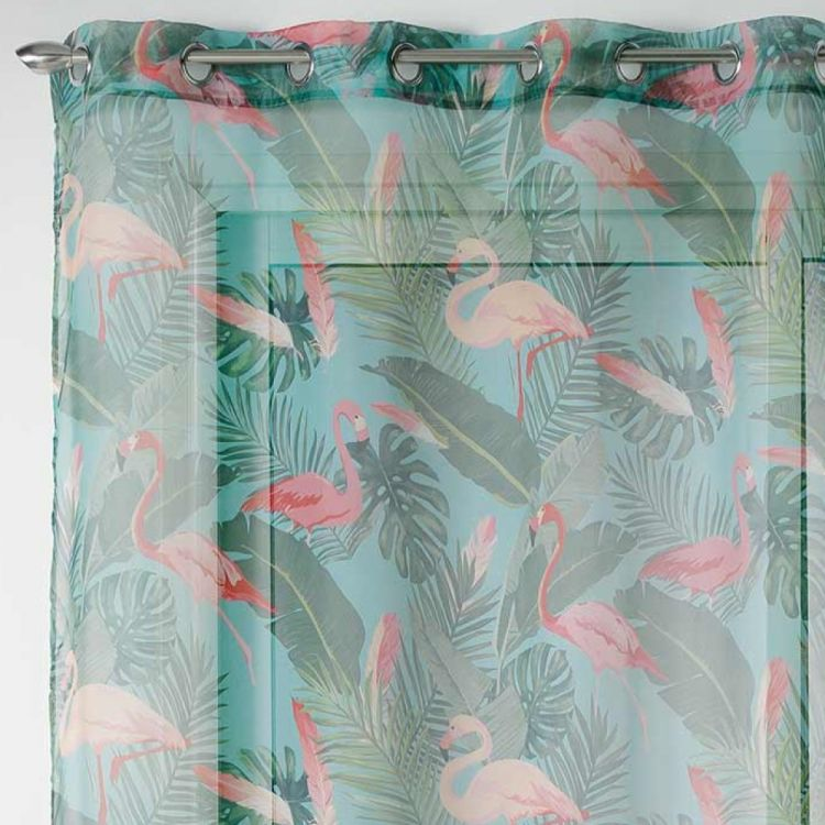 Zootica Flamingo Floral Eyelet Voile Curtain