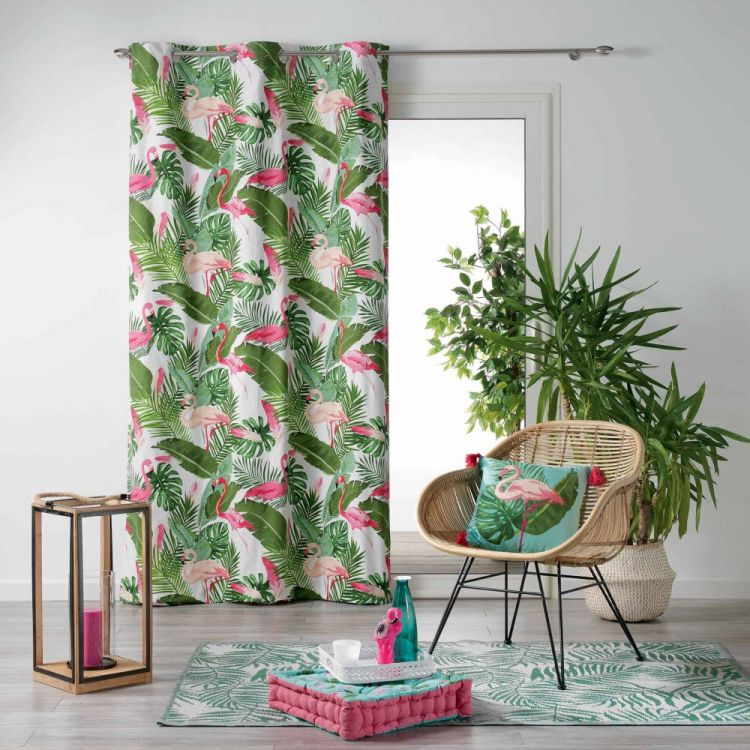 Zootica Flamingo Floral Eyelet Unlined Curtain Panel White