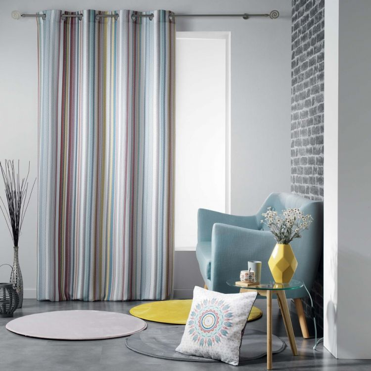 Caly Striped Eyelet Unlined Curtain Panel Multi