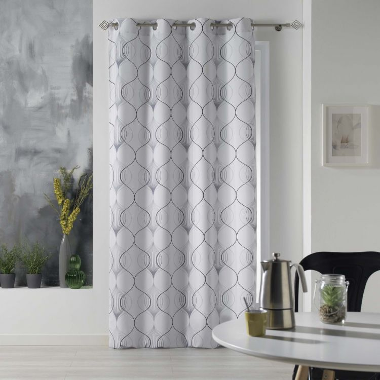 Lagune Geometric Eyelet Unlined Curtain Panel Grey