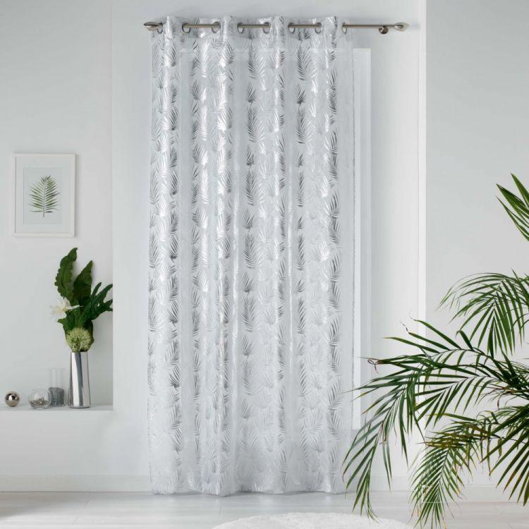 Kolza Metallic Leaf Eyelet Voile Curtain Panel