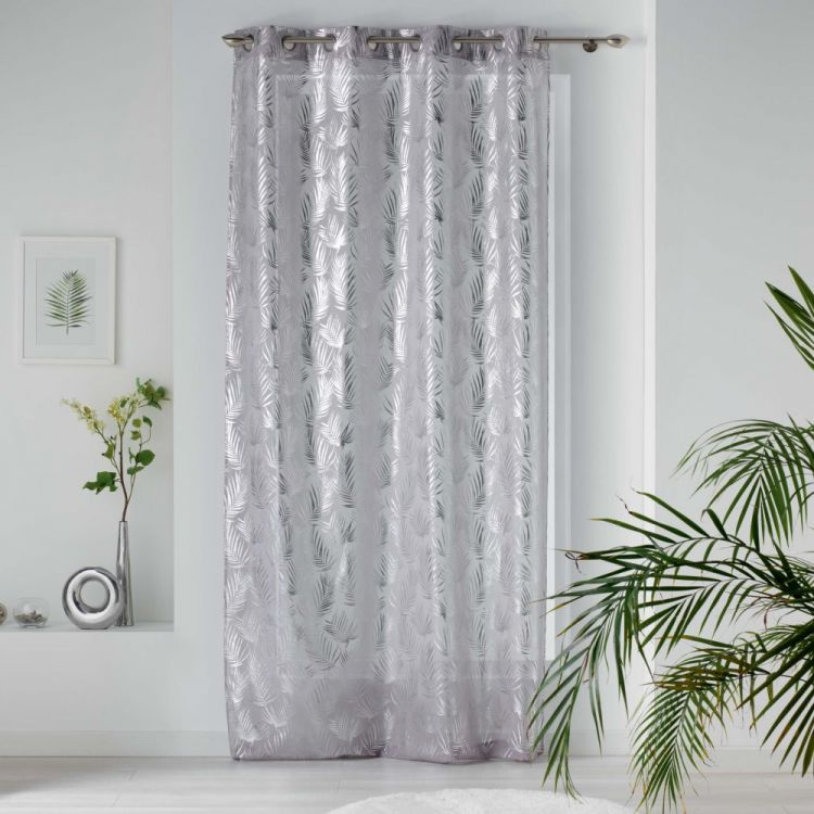 Kolza Metallic Leaf Eyelet Voile Curtain Panel