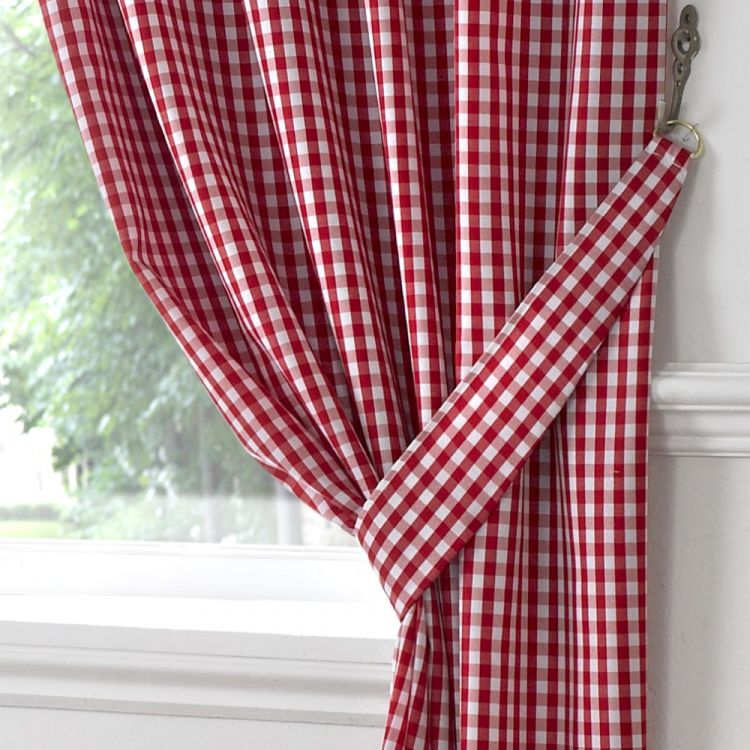 Gingham Check Kitchen Tape Top Curtains Red