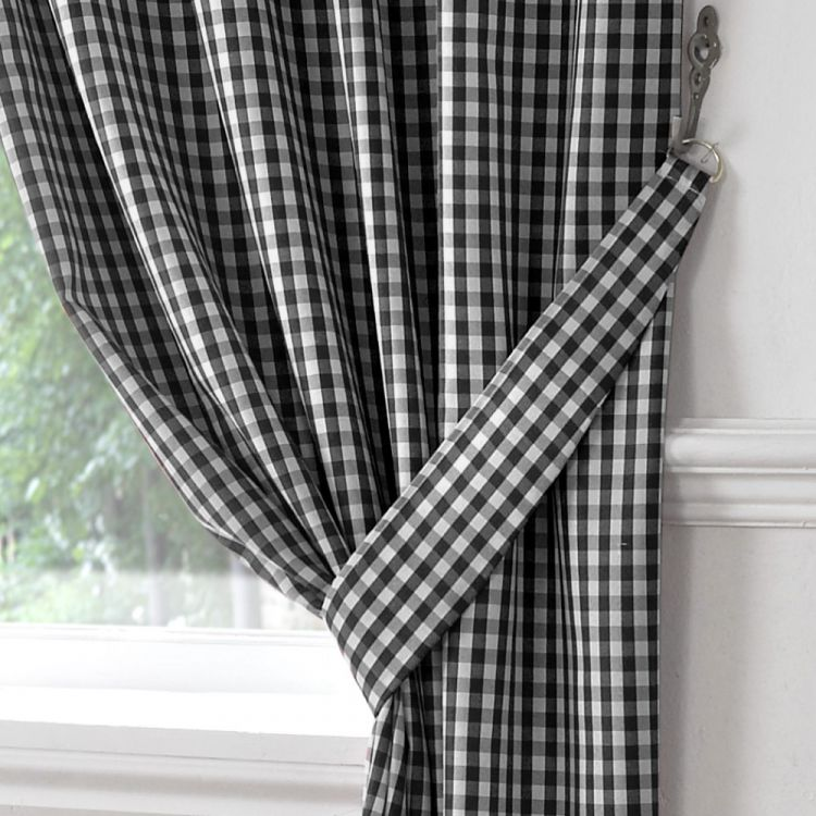 Gingham | Check | Kitchen | Tape Top | Curtains | Black ...
