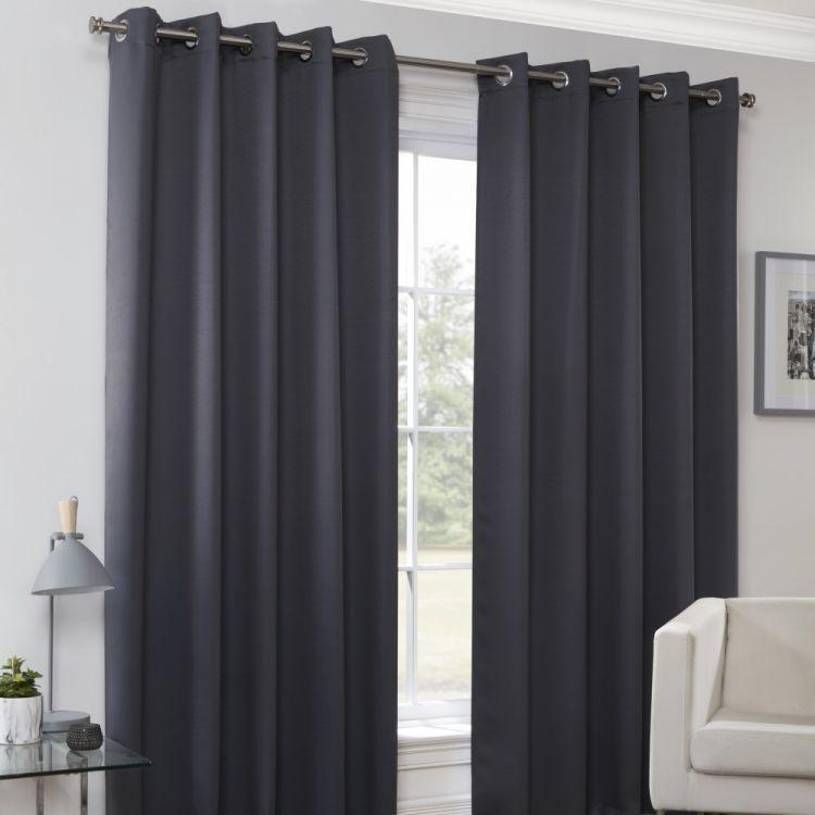 Plain Eyelet Thermal Blockout Curtains Black