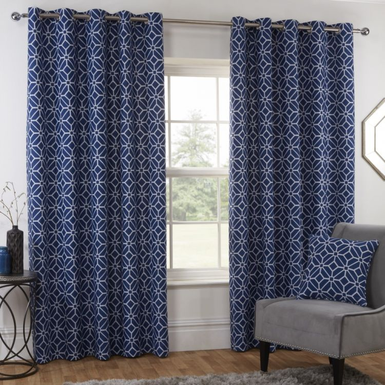 Kelso Geometric Fully Lined Eyelet Curtains Navy